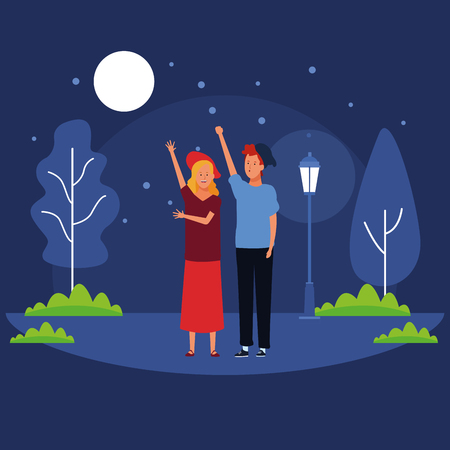 couple avatar cartoon character hand up wearing hat and casual clothes in the park at night scenery vector illustration graphic design