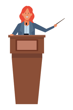 woman in a podium making a speech with a wand vector illustration graphic design