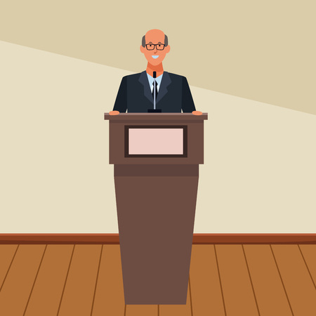 man in a podium making a speech wearing glasses indoor vector illustration graphic design Ilustrace