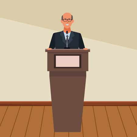 man in a podium making a speech wearing glasses indoor vector illustration graphic design Illustration