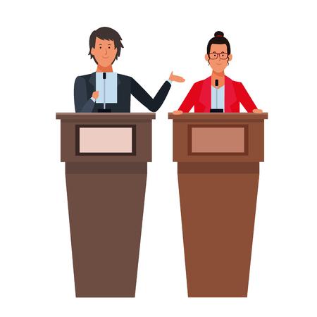 couple in a podium making a speech wearing glasses vector illustration graphic design Ilustração