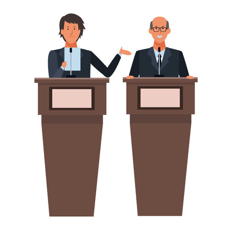 men in a podium making a speech wearing glasses vector illustration graphic design