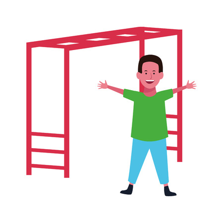 Boy smiling and playing with playground game vector illustration graphic design