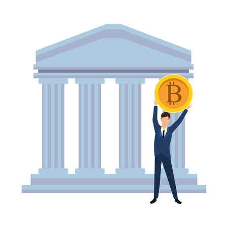Businessman with bitcoin in bank building vector illustration graphic design