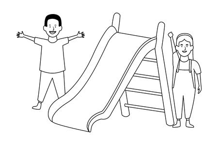 swing wooden playground game vector illustration garphic design