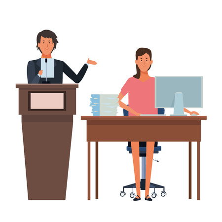 couple in a podium and office desk vector illustration graphic design