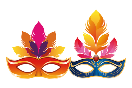 mask with feathers icon cartoon vector illustration graphic design