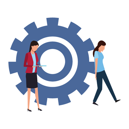 Coworkers businesswoman and woman stopping gear teamwork cartoon vector illustration graphic design