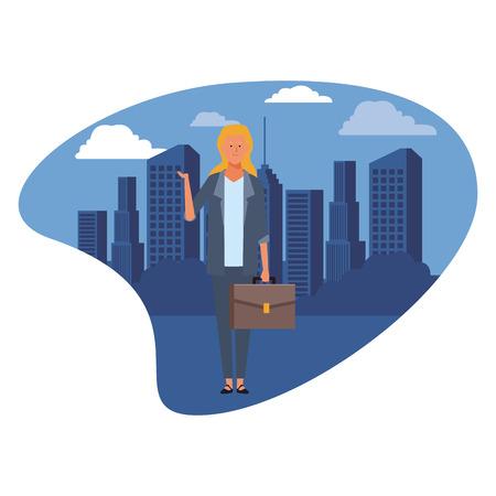 businesswoman avatar cartoon character with briefcase cityscape skyscraper vector illustration graphic design