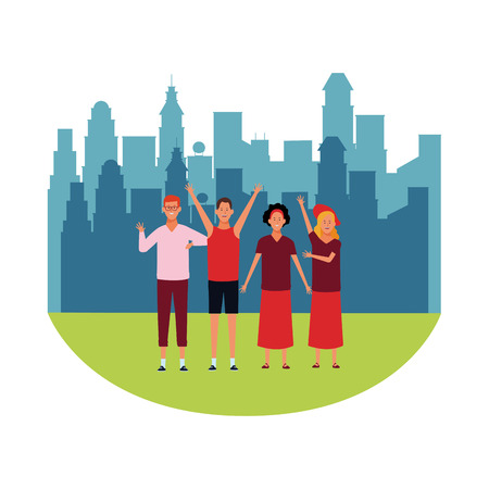 people avatars cartoon characters hands up open arms wearing hat glasses headband in the city park scenery
