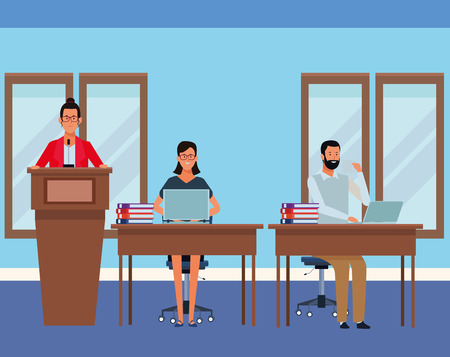 people in podium and desk with computer and documents in the auditory vector illustration graphic design