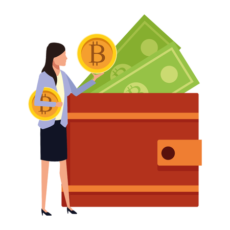 Busineswoman with bitcoins and cash wallet vector illustration graphic design 向量圖像