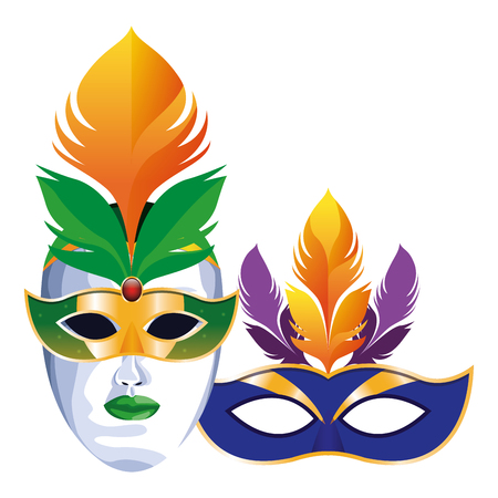 masks with feathers icon cartoon vector illustration graphic design