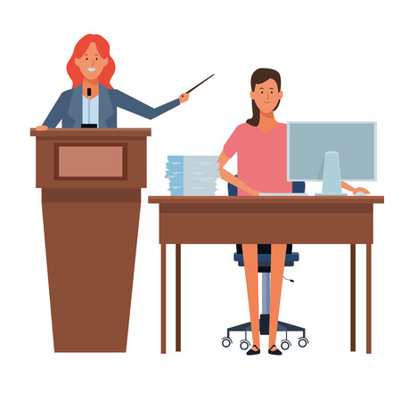 women in a podium and office desk with wand vector illustration graphic design