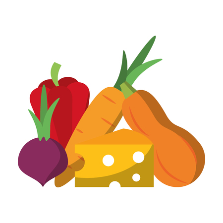 Fresh vegetables healthy food cartoon vector illustration graphic design 矢量图像