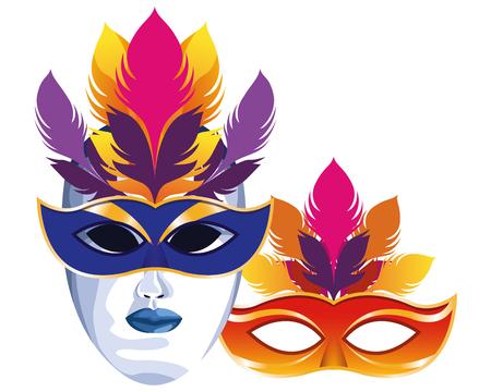 Máscaras con diseño gráfico del ejemplo del vector de la historieta del icono de las plumas