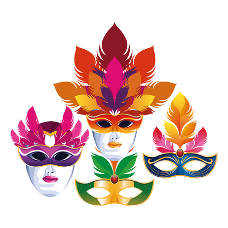 set of masks with feathers icon cartoon vector illustration graphic design Illustration