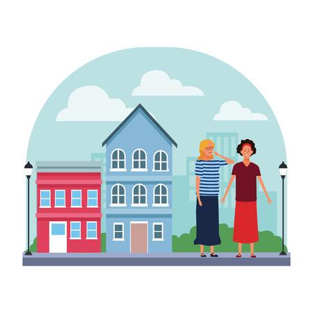women avatar cartoon character wearing skirt headband and glasses  in the neighborhood scenery vector illustration graphic design Foto de archivo - 120354919