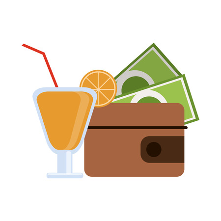 Summer cocktail and wallet with money vector illustration graphic design Ilustração