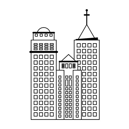 City buildings urban scenery isolated vector illustration graphic design