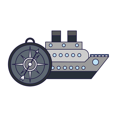 Cruiser ship with compass symbol vector illustration graphic design vector illustration graphic design