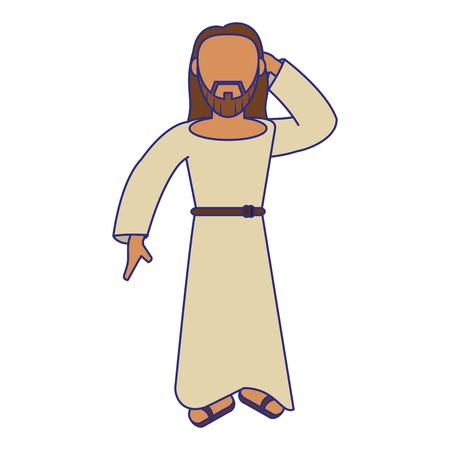 jesus christ man greeting cartoon vector illustration graphic design