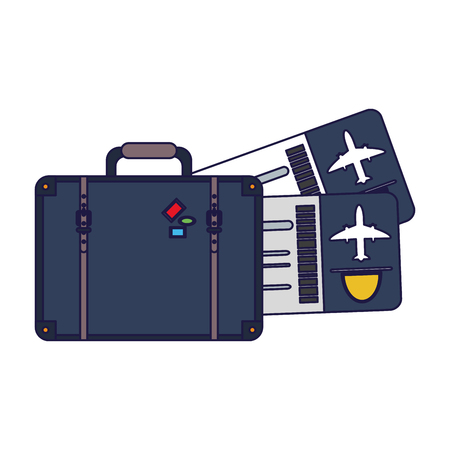Vacations and travel suitcase and flight tickets vector illustration graphic design vector illustration graphic design