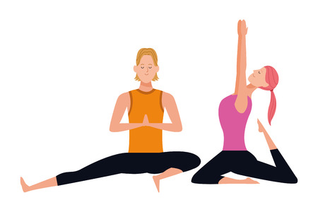couple yoga poses avatars cartoon character with ponytail vector illustration graphic design Vettoriali