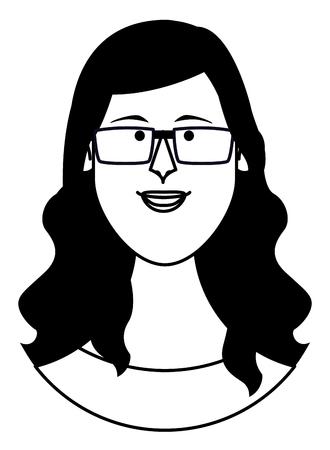 Vrouw met bril gezicht cartoon profiel vector illustratie grafisch ontwerp Vector Illustratie