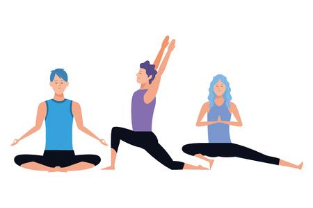 people yoga poses avatars cartoon character vector illustration graphic design