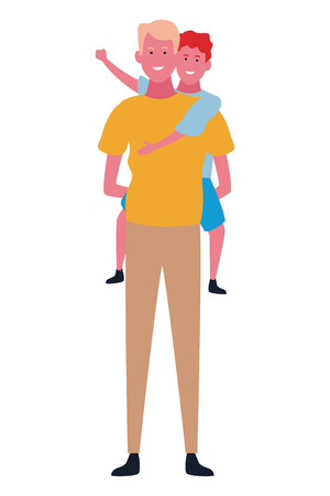 Single father playing with son on back cartoon vector illustration graphic design