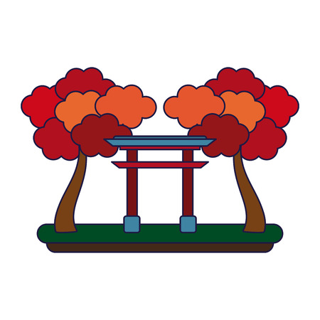 Japanese gate with trees cartoon isolated vector illustration graphic design