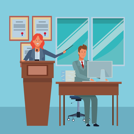 couple in a podium and office desk with a wand in the auditory vector illustration graphic design Ilustração