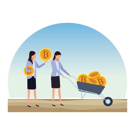 businesswomen holding cryptocurrency bitcoin with wheelbarrow outdoor vector illustration graphic design