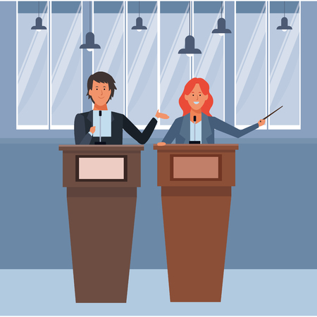 couple in a podium making a speech with wand indoor vector illustration graphic design Vector Illustratie