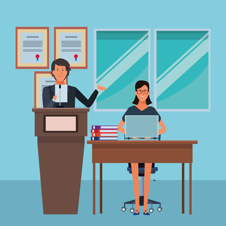 couple in a podium and office desk wearing glasses in the auditory vector illustration graphic design