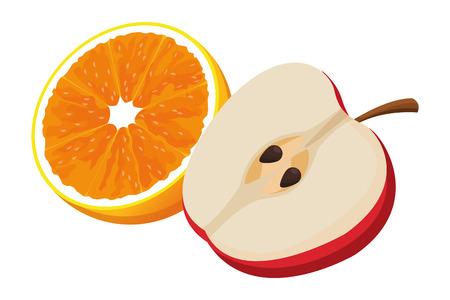 orange and apple icon cartoon isolated vector illustration graphic design
