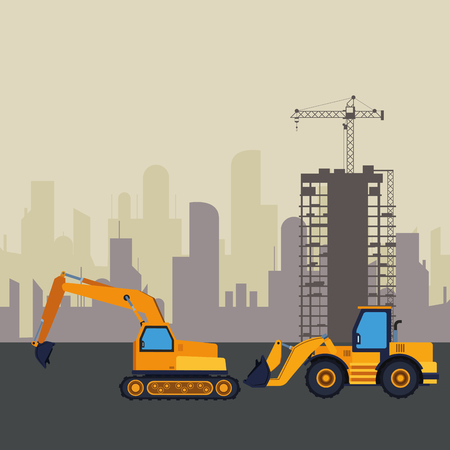 Construction vehicles backhoes machinery in construction zone with crane scenery vector illustration graphic design Stock Illustratie