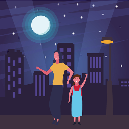 Single mother with kid daughter cartoon in the street at night scenery