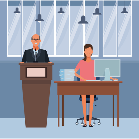 couple in a podium and office desk wearing glasses indoor vector illustration graphic design