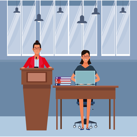 women in a podium and office desk wearing glasses indoor vector illustration graphic design