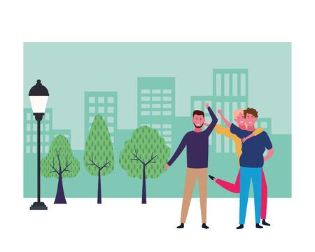 Gelukkige mensen vrienden glimlachen en plezier cartoon bij stadspark landschap frame vector illustratie grafisch ontwerp
