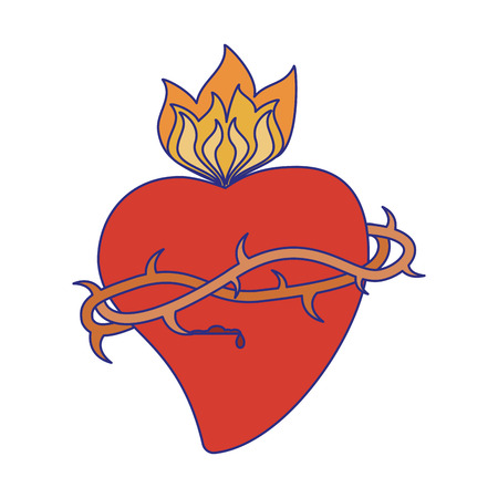 Sacred heart with flame symbol vector illustration graphic design