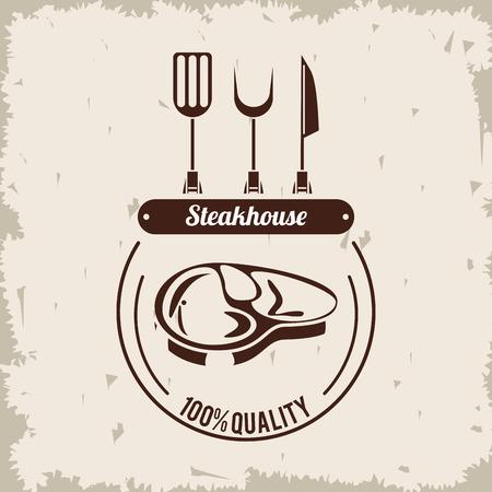 Steakhouse bbq restaurant grunge poster