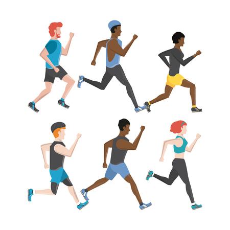 Fitness-Leute, die Charaktere laufen lassen, setzen Sammlungsvektor-Illustrationsgrafikdesign