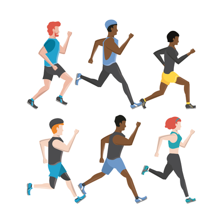 Fitness people running characters set collection vector illustration graphic design