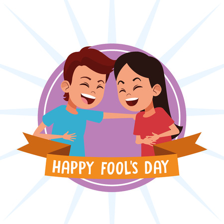 April fools day kids laughing cartoons vector illustration graphic design