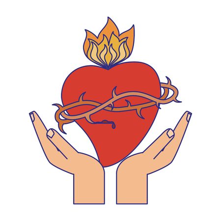 hands with sacred heart with flamme vector illustration graphic design Çizim