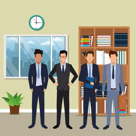 cartone animato di uomini d'affari esecutivi all'interno di un edificio per uffici scenario illustrazione vettoriale graphic design