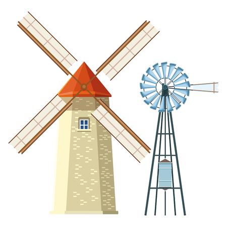 windmill and wind turbine icon cartoon vector illustration graphic design Illusztráció